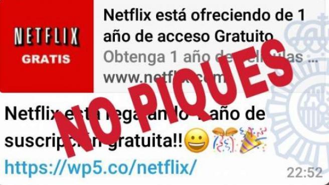 Imagen de una nueva estafa en WhatsApp, que promete un año de suscripción gratuita a Netflix.