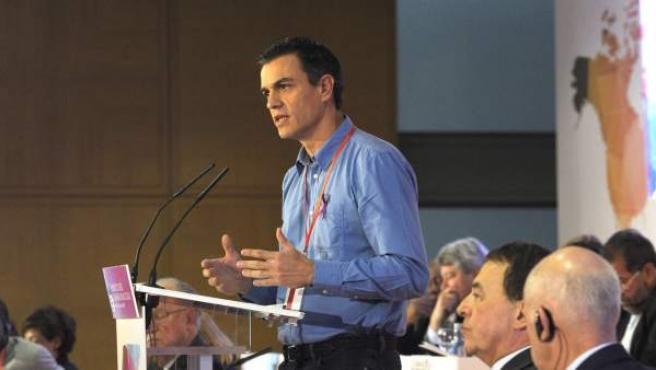 El secretario general del PSOE, Pedro Sánchez, durante la clausura del Consejo de la Internacional Socialista celebrado en Barcelona.