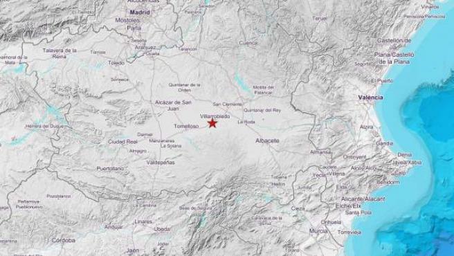 Epicentro del terremoto en Villarrobledo, Albacete.