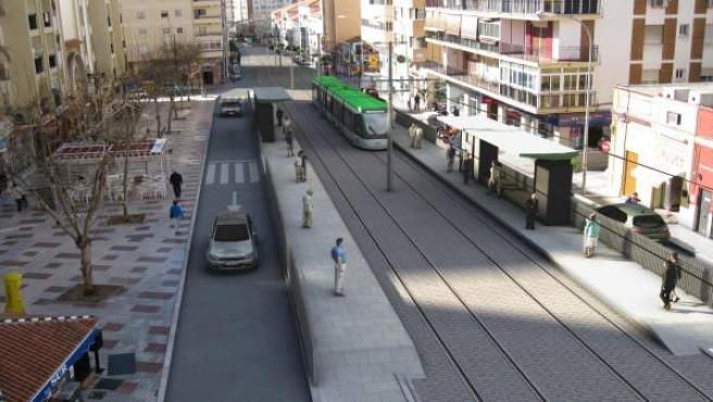 Metro en superficie hacia Hospital Civil Eugenio Gross tranvía