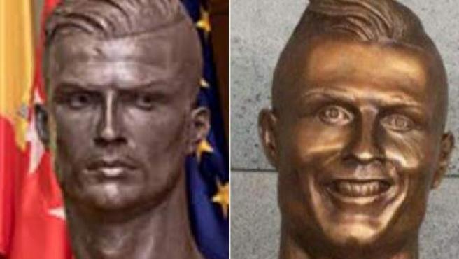 Bustos de Cristiano Ronaldo hechos por José Antonio Navarro (izq.) y Emanuel Santos (dcha.).