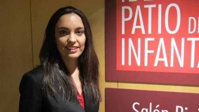La periodista Marta García Aller, en el Patio de la Infanta de Ibercaja