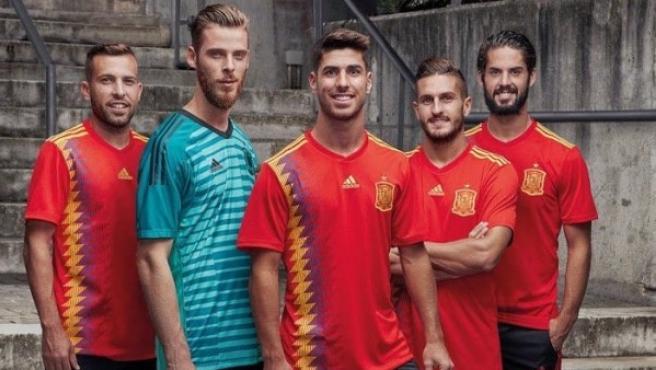 La camiseta de la selección española para el Mundial de 2018.