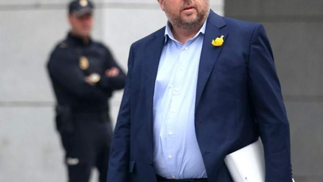 Oriol Junqueras, a su llegada a la Audiencia Nacional para declarar por rebelión.