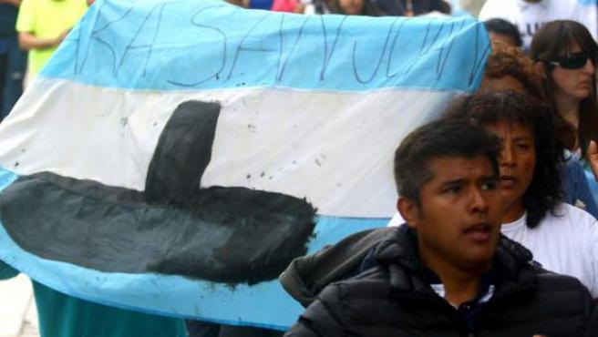 Los familiares de la tripulación del ARA San Juan, en la manifestación.