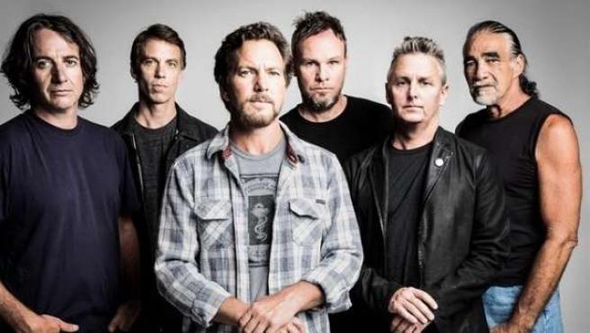 Imagen promocional del grupo Pearl Jam.