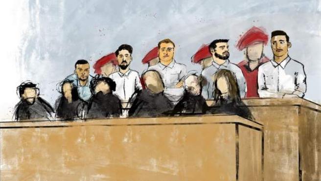 Los integrantes de 'La Manada' en el juicio celebrado en la Audiencia Provincial de Navarra.