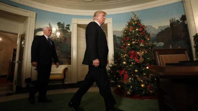 Donald Trump, en la sala de recepciones diplomáticas de la Casa Blanca, momentos antes de reconocer a Jerusalén como capital israelí.