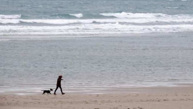 Un hombre y su perro pasean por la playa de Sabón en la localidad coruñesa de Arteixo. El paso de un frente atlántico muy activo, asociado a una ciclogénesis explosiva, formará el domingo la primera borrasca con nombre, 'Ana', que cruzará al norte del mar Cantábrico, llevando vientos muy fuertes, mal estado de la mar y lluvias persistentes sobre buena parte de la Península y a Baleares.