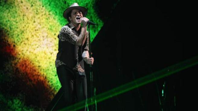 El cantante estadounidense Bruno Mars, en un concierto.