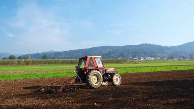 Imagen de un tractor arando un campo de cultivo.