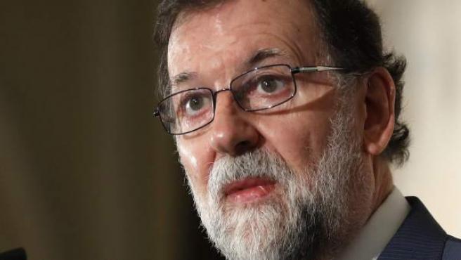 El presidente de Gobierno, Mariano Rajoy, durante una conferencia.