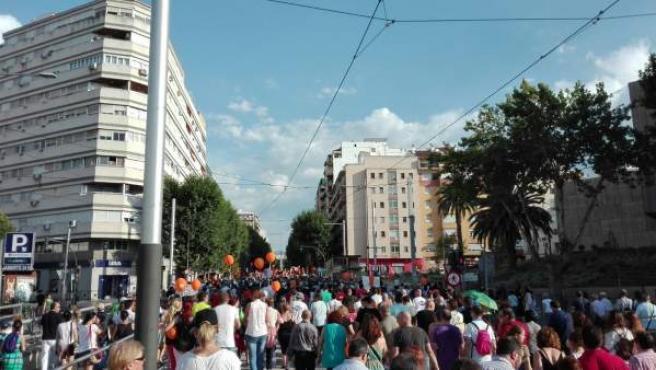Manifestación convocada por 'Jaén merece más' el 17 de junio de 2017.
