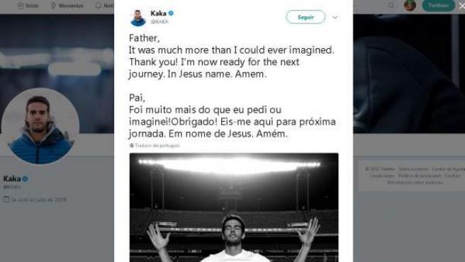 Kaká anunció así en Twitter su retirada.