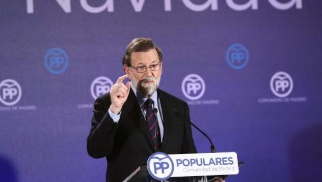 Mariano Rajoy en la cena de Navidad del PP.