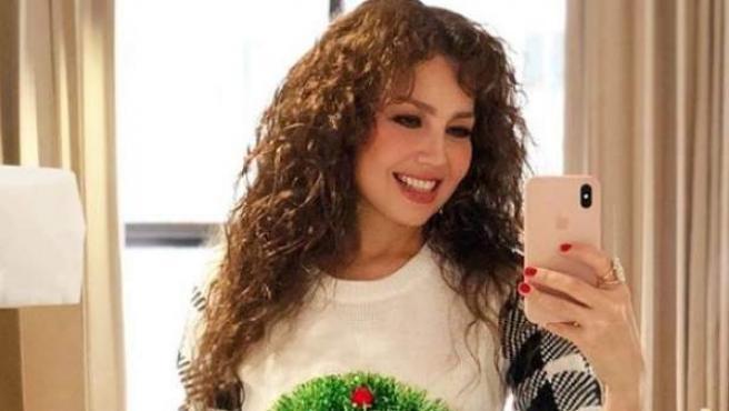 Thalia comparte una fotografía en la Navidad de 2017.