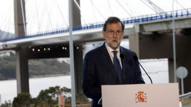 El presidente del Gobierno, Mariano Rajoy, en su último acto público en 2017.