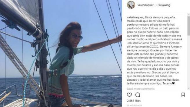 Mensaje emotivo de Valeria Quer, hermana de la desaparecida Diana Quer.