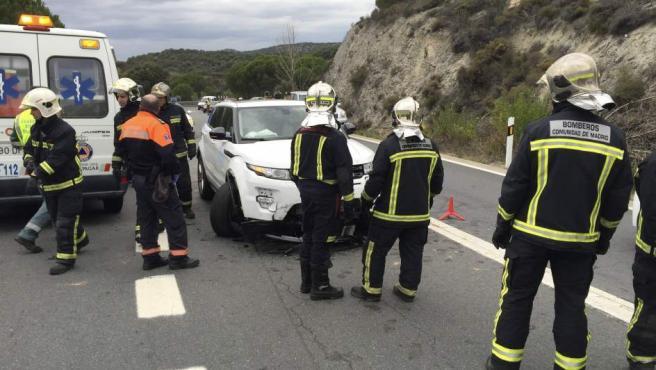 Imagen del accidente en el que falleció un motorista en Galapagar, Madrid.