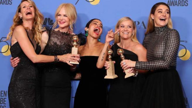 Laura Dern, Nicole Kidman, Zoe Kravitz, Reese Witherspoon y Shailene Woodley posan junto a los galardones obtenidos por 'Big Little Lies'.