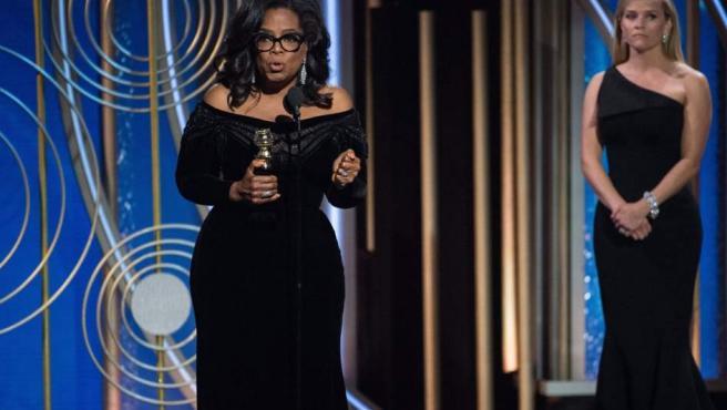 Oprah Winfrey, durante su discurso al recibir el premio Cecil B. DeMille, durante la 75 edición de los Globos de Oro.