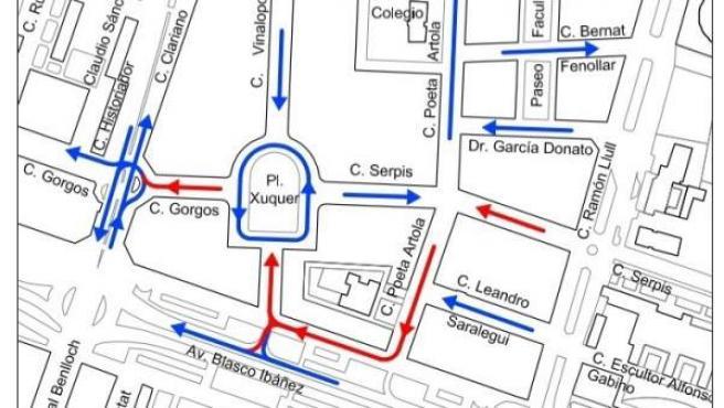 Así quedará el sentido de circulación en el entorno de Xúquer a partir de este jueves. En rojo, las calles que cambian de sentido.