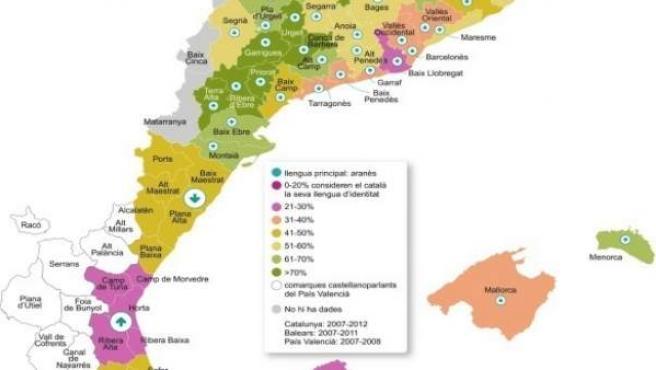 Mapa del domini lingüístic del català/valencià facilitat per Escola