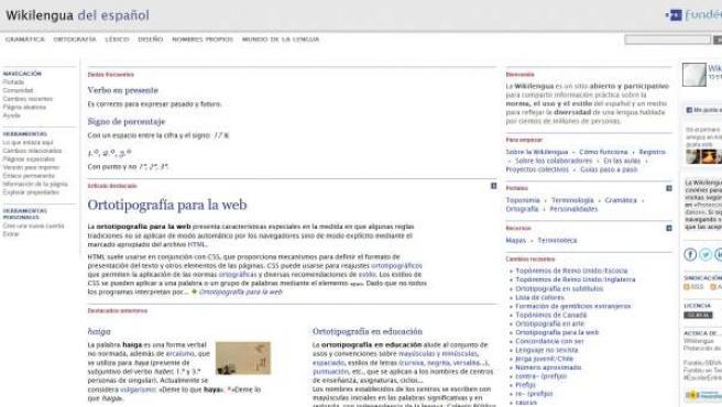 Portada de la web de Wikilengua, de Fundéu.