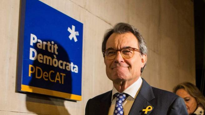 Artur Mas, en la sede del PDeCAT.