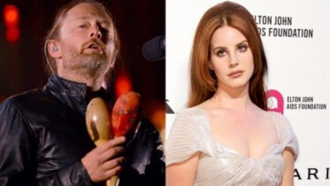 Thom Yorke, líder de Radiohead y Lana Del Rey, en sendas imágenes de archivo.