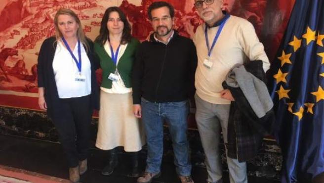 Representantes de Podemos, en el Congreso sobre la conexión ferroviaria