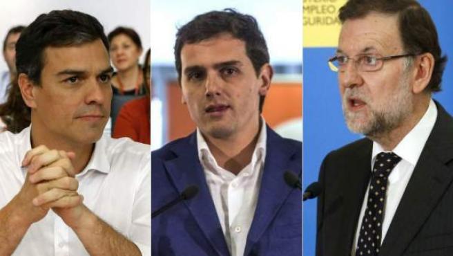 De izquierda a derecha, el secretario general del PSOE, Pedro Sánchez; el presidente de Ciudadanos, Albert Rivera, y el presidente del Gobierno y del PP, Mariano Rajoy.