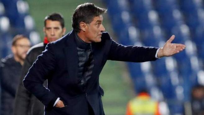Míchel, en su último partido como entrenador del Málaga.