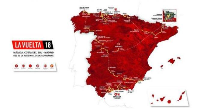Mapa con el recorrido de la Vuelta a España 2018.