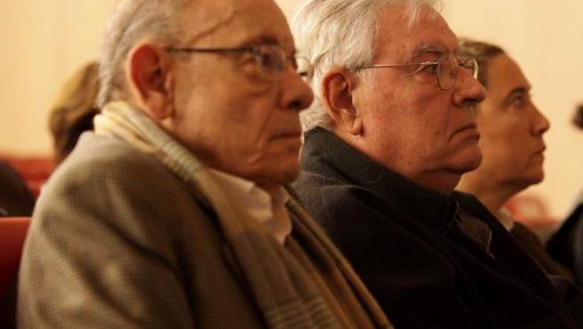 Imagen de Félix Millet, Jordi Montull y Gemma Montull durante la primera sesión del juicio del Caso Palau.