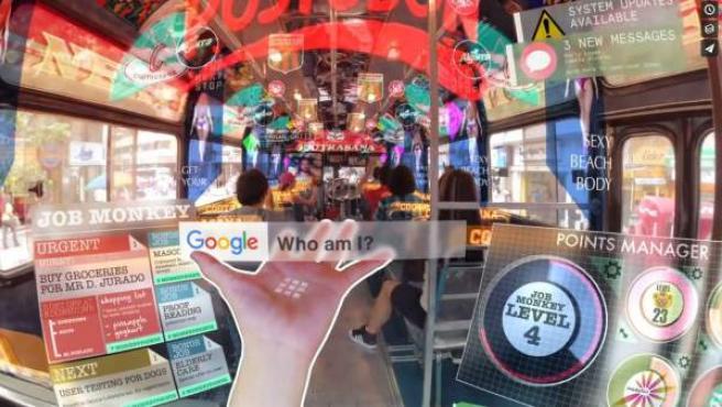 Imagen del cortometraje 'Hyper-Reality', donde se muestra un perturbador futuro dominado por la realidad aumentada.