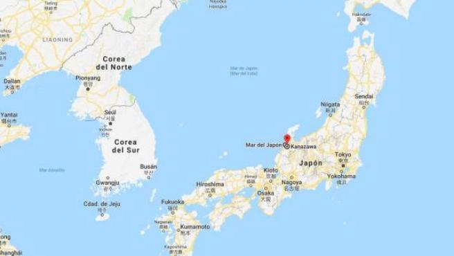 Localización de Kanazawa, en la costa oeste de Japón.