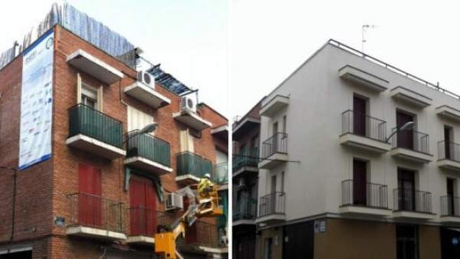El edificio del barrio de Fuencarral en Madrid, antes y después de la rehabilitación.