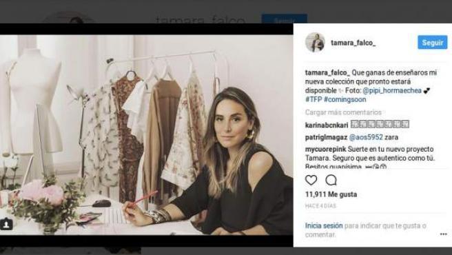 Tamara Falcó, en la foto en que anuncia su actividad como diseñadora.