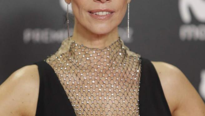 Maribel Verdú posa con un vestido de Stella McCartney con cuello perkins en malla durante la quinta edición de los Premios Feroz.