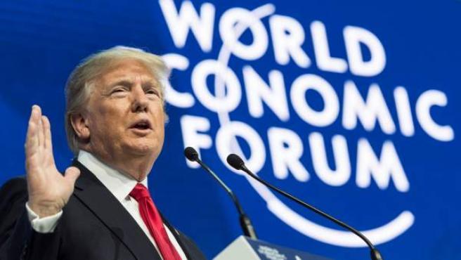 El presidente de Estados Unidos, Donald Trump, durante su discurso en el Foro Económico Mundial de Davos.