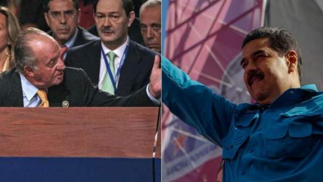 """Combo de imágenes del famoso """"¿Por qué no te callas?"""" del rey Juan Carlos a Hugo Chávez (izquierda) y del presidente venezolano Nicolás Maduro."""
