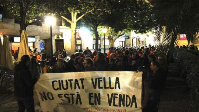Una de las pancartas de la protesta