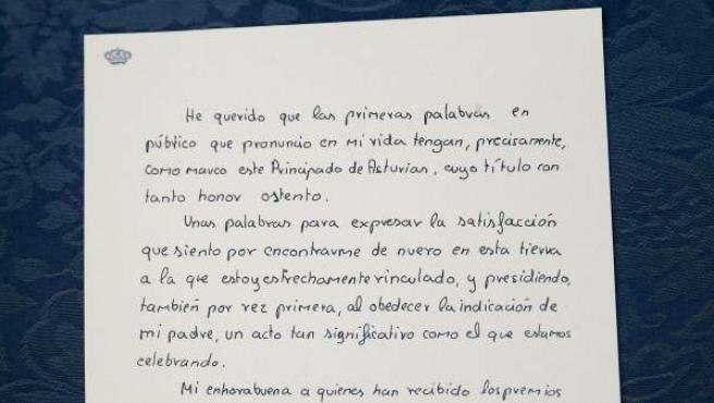 Primer discurso manuscrito que don Felipe pronunció, con tan sólo trece años, en el Teatro Campoamor de Oviedo, en la entrega de los Premios Príncipe de Asturias de 1981, que ha sido difundido en Internet por la fundación que concede estos galardones.