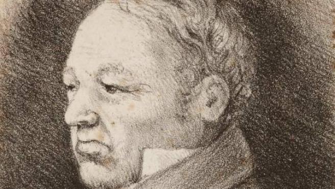 Rosario Weiss. Retrato de Goya. Burdeos, 1826. Lápiz negro sobre papel. Museo Lázaro Galdiano. Inv. 4020