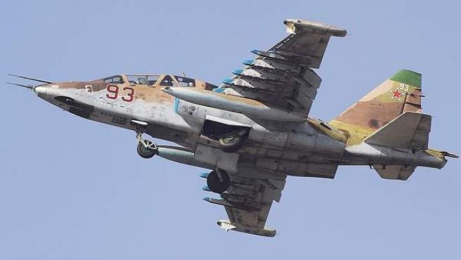 Imagen de un avión SU-25 de la fuerza aérea rusa.