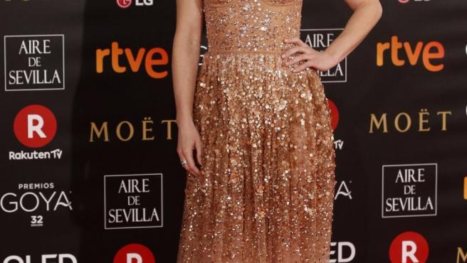 La actriz Marta Etura a su llegada a la ceremonia de entrega de la 32 edición de los Premios Goya, que se celebra esta noche en el Madrid Marriott Auditorium Hotel.