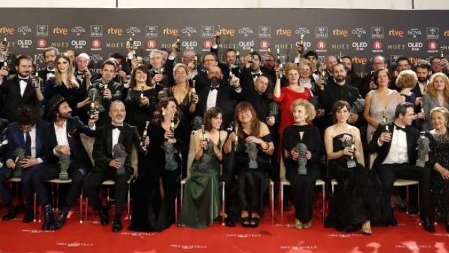 Foto de los galardonados en la 32 Edición de los Premios Goya.