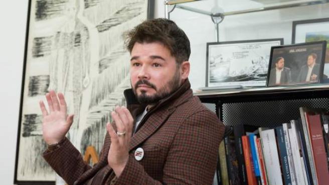 El diputado de ERC en el Congreso Gabriel Rufián, durante una entrevista con '20minutos'.