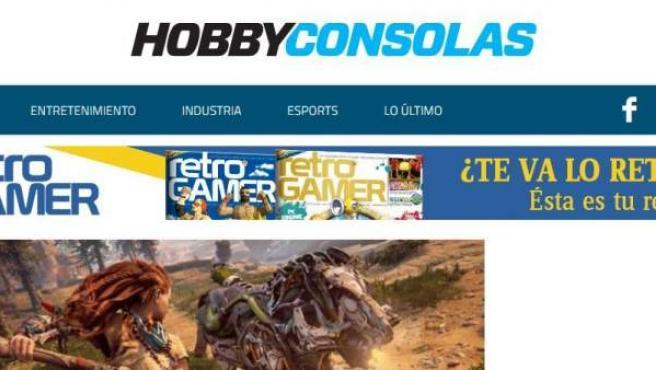 Vista principal de la página web de Hobby Consolas, medio aliado con 20minutos para ofrecer contenido de videojuegos y entretenimiento.